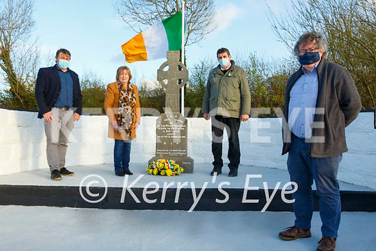 Michael Galvin Commemoration: Eileen O'Mahony, Listowel, niece of Michael Galvin laying a wreath at the memorial to commemorate his death 100 years ago. L_ R : Robert O'Mahony, Grand nephew, Declan Finnucane  and Gabriel Fitzmaurice who  gave the oration at the ceremony.