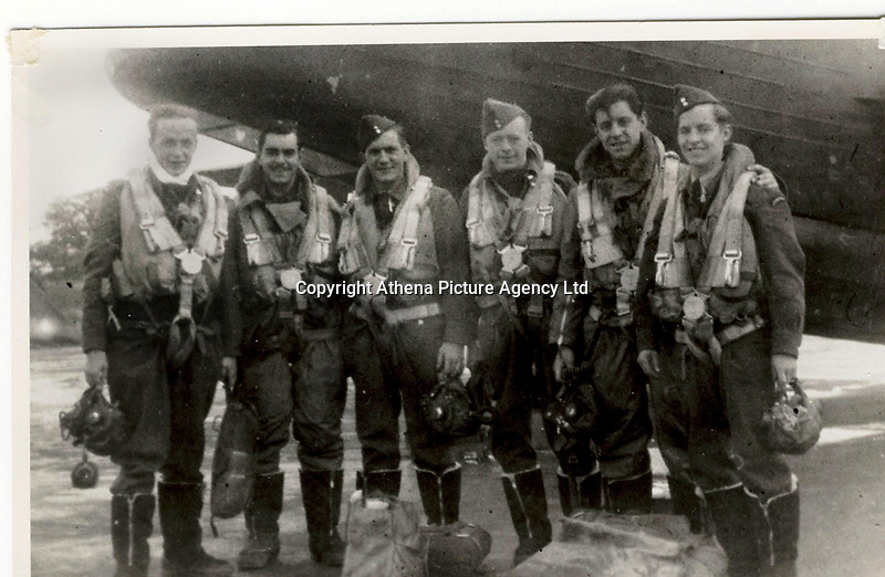 """Pictured L-R: Pilot Sgt Charles Hamel, Navigator Sgt Jules Robert Rene Villeneuve, Bomb Aimer F/off William Joseph Alison, W/Op/Airgunner Sgt Joseph Paul Ernest Burke, Air Gunner Sgt Arthur Grouix, Air Gunner Sgt Gerard Dusablon. <br /> Re: The nephew of a World War II airman whose plane crashed into a Welsh mountain has climbed the peak to pay tribute to the uncle he never met.<br /> Dr Peter Paré, 74, travelled from his home in Vancouver, Canada, to read a poem at the desolate spot where his uncle Bill Allison was killed.<br /> Flying officer Allison, 28, was one of the six crew of a Wellington Bomber that crashed on a training flight in November 1944.<br /> The plane wreckage is still scattered over Carreg Goch in the Brecon Beacons where hundreds of young airmen learned to prepare for bombing missions.<br /> Dr Paré said: """"I wanted to make this pilgrimage even though I was a baby when he died and never met Bill Allison.<br /> """"We only found out about the crash site recently and it is remarkable that so much of the plane is still here.""""<br /> Flying officer Allison was the oldest on board when the plane's starboard engine developed a fault during a low-flying exercise.<br /> For years local people have honoured the brave airmen by flying a Canadian flag at the scene - replacing it every time it gets ripped by strong winds.<br /> Dr Paré, retired Professor of Medicine at the University of British Columbia, said: """"It was very moving to see the Maple Leaf flying where my uncle died all those years ago.<br /> """"It brought a tear to my eye as I read the poem I wrote in his honour."""""""