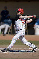 Michael Aicardi (3) of the St. John's Red Storm follows through on his swing versus the North Carolina Tar Heels at the 2008 Coca-Cola Classic at the Winthrop Ballpark in Rock Hill, SC, Sunday, March 2, 2008.