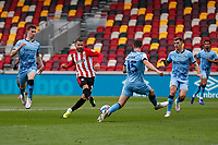 17th October 2020; Brentford Community Stadium, London, England; English Football League Championship Football, Brentford FC versus Coventry City; Emiliano Marcondes of Brentford takes a shot on goal