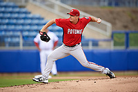 Potomac Nationals starting pitcher Matthew Crownover (41) delivers a pitch during the first game of a doubleheader against the Salem Red Sox on June 11, 2018 at Haley Toyota Field in Salem, Virginia.  Potomac defeated Salem 9-4.  (Mike Janes/Four Seam Images)