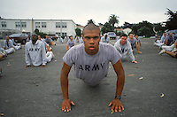 Morning push ups at the Presideo. The National Parks Service took over the Presidio in 1993 and this meant they own the land at both ends of the Golden Gate Bridge.  The military still has a small presence at the Presidio..