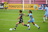Shannon Boxx (7) of the Los Angeles Sol is chased by Rosana (11) of Sky Blue FC. Sky Blue FC and the Los Angeles Sol played to a 0-0 tie during a Women's Professional Soccer match at Yurcak Field in Piscataway, NJ, on June 13, 2009.