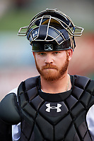 Arkansas Travelers catcher Tyler Marlette (30) during a game against the Frisco RoughRiders on May 26, 2017 at Dickey-Stephens Park in Little Rock, Arkansas.  Arkansas defeated Frisco 4-2.  (Mike Janes/Four Seam Images)
