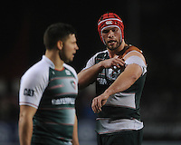 Dom Barrow of Leicester Tigers tears his shirt during the Premiership Rugby match between Saracens and Leicester Tigers - 02/01/2016 - Allianz Park, London<br /> Mandatory Credit: Rob Munro/Stewart Communications