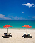 Thailand, island Ko Samui, Lamai Beach, two parasols and empty deck chairs