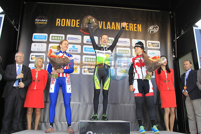 Greenedge's Judith Arndt (GER) wins with Kristin Armstrong (USA) 2nd and Joelle Numainville (CAN) 3rd at the end of the 9th edition of the Women's Tour of Flanders 2012 , running 127.4km from Oudenaarde to Oudenaarde, Belgium. 1st April 2012. <br /> (Photo by Eoin Clarke/NEWSFILE).