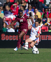 Tiffany McCarty (14) of Florida State battles for the ball with Domenica Hodak (2) of Maryland during the game at Ludwing Field in College Park, MD.  Florida State defeated Maryland, 1-0.