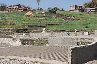 Bhaktapur, Nepal.  Mud Bricks Drying in the Sun.  Rural Houses on Hillside.