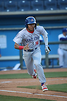 Brayan Buelvas (15) of the Stockton Ports runs to first base during a game against the Rancho Cucamonga Quakes at LoanMart Field on May 26, 2021 in Rancho Cucamonga, California. (Larry Goren/Four Seam Images)