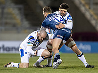 12th February 2021; AJ Bell Stadium, Salford, Lancashire, England; English Premiership Rugby, Sale Sharks versus Bath; Byron McGuigan of Sale Sharks is tackled by Tom Dunn of Bath Rugby