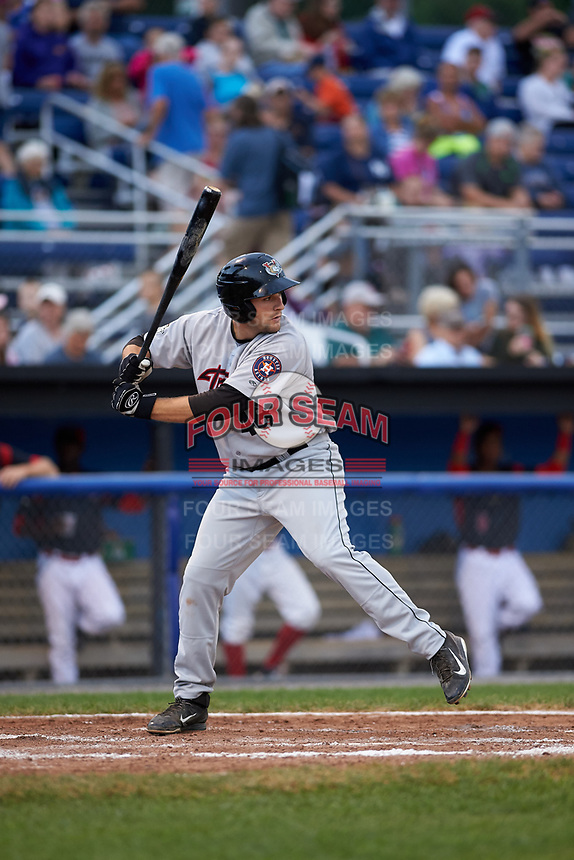 Tri-City ValleyCats first baseman Jake Adams (48) at bat during a game against the Batavia Muckdogs on July 14, 2017 at Dwyer Stadium in Batavia, New York.  Batavia defeated Tri-City 8-4.  (Mike Janes/Four Seam Images)