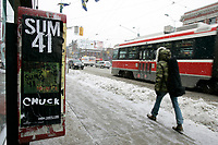 Jan 24, 2005 Toronto (Ontario) CANADA.falling snow on Queen Street in Toronto, Canada , Jan 24, 2005 ..Photo (c) 2005 P Roussel / Images Distribution