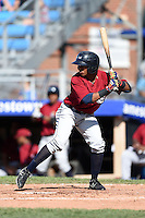 Mahoning Valley Scrappers outfielder Joel Mejia (6) at bat during a game against the Jamestown Jammers on June 15, 2014 at Russell Diethrick Park in Jamestown, New York.  Jamestown defeated Mahoning Valley 9-4.  (Mike Janes/Four Seam Images)