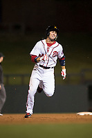 Salt River Rafters second baseman Carter Kieboom (24), of the Washington Nationals organization, runs to third base during an Arizona Fall League game against the Scottsdale Scorpions at Salt River Fields at Talking Stick on October 11, 2018 in Scottsdale, Arizona. Salt River defeated Scottsdale 7-6. (Zachary Lucy/Four Seam Images)