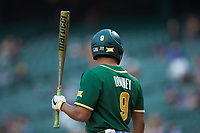 Davion Downey (9) of the Baylor Bears looks towards his dugout before stepping into the batter's box during the game against the LSU Tigers in game five of the 2020 Shriners Hospitals for Children College Classic at Minute Maid Park on February 28, 2020 in Houston, Texas. The Bears defeated the Tigers 6-4. (Brian Westerholt/Four Seam Images)