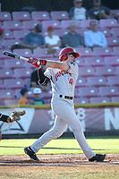 Kacy Clemens (44) of the Vancouver Canadians bats against the Salem-Keizer Volcanoes at Volcanoes Stadium on July 24, 2017 in Keizer, Oregon. Salem-Keizer defeated Vancouver, 4-3. (Larry Goren/Four Seam Images)