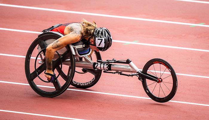 Jessica Frotten, Tokyo 2020 - Para Athletics // Para-athlétisme.<br /> Canada competes in the 4x100m universal relay heats // Le Canada participe aux séries éliminatoires du relais universel 4x100m. 03/09/2021.