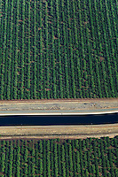aerial photograph of the California Aqueduct, Central Valley, California