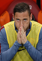 Calcio, Serie A: Roma vs Bologna. Roma, stadio Olimpico, 11 aprile 2016.<br /> Roma's Francesco Totti sits on the bench during the Italian Serie A football match between Roma and Bologna at Rome's Olympic stadium, 11 April 2016.<br /> UPDATE IMAGES PRESS/Isabella Bonotto