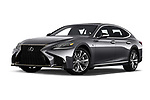 Stock pictures of low aggressive front three quarter view of a 2018 Lexus LS 500 F-SPORT 4 Door Sedan