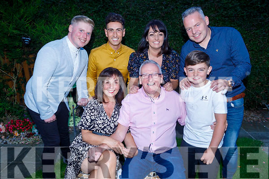 Jimmy Diggins celebrating his 70th birthday at home in Cluin Ard, Tralee on Saturday with his family. <br /> Seated l to r: Sheila and Jimmy Diggins and Rian Tuohy.<br /> Back l to r: Aidan Cotter, Leon Diggins, Dawn and Leonard Tuohy.