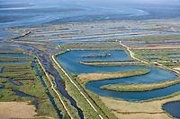 Europe/France/Aquitaine/33/Gironde/Bassin d'Arcachon/Audenge: Domaine de Certes - les digues et les bassins sur le Delta de l'Eyre et le bassin   -Vue aérienne