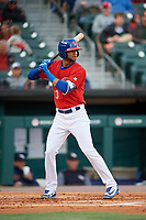 Buffalo Bisons shortstop Lourdes Gurriel Jr. (13) at bat during a game against the Scranton/Wilkes-Barre RailRiders on May 18, 2018 at Coca-Cola Field in Buffalo, New York.  Buffalo defeated Scranton/Wilkes-Barre 5-1.  (Mike Janes/Four Seam Images)