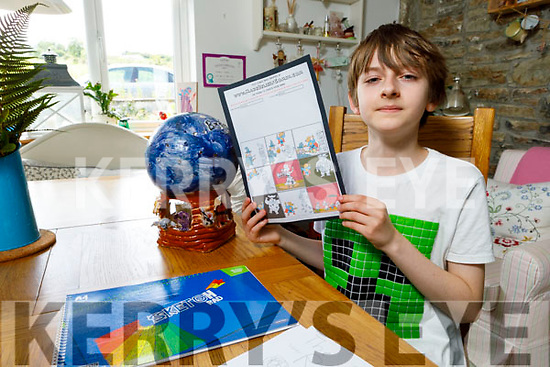 Benjamin Tebbs at home in Athea who has autism and has created a comic book hero called  Super Dog with the help of his tutor Magedelina Lanedzak
