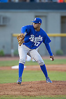 Burlington Royals relief pitcher Christian Flecha (17) in action against the Bristol Pirates at Boyce Cox Field on July 10, 2015 in Bristol, Virginia.  The Pirates defeated the Royals 9-4. (Brian Westerholt/Four Seam Images)