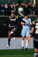 Han Duan (9) of the Los Angeles Sol and Jenny Hammond (2) of Sky Blue FC battle for a header. The Los Angeles Sol defeated Sky Blue FC 2-0 during a Women's Professional Soccer match at TD Bank Ballpark in Bridgewater, NJ, on April 5, 2009. Photo by Howard C. Smith/isiphotos.com