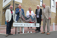 Essex CCC Chairman John Faragher (2nd L) and Mayor of Colchester Julie Yoiung (C) unveil the sign for Trevor Bailey Drive during Essex CCC vs Sussex CCC, Specsavers County Championship Division 2 Cricket at Castle Park on 4th August 2016