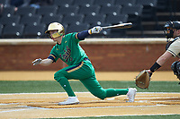 Ethan Copeland (6) of the Notre Dame Fighting Irish follows through on his swing against the Wake Forest Demon Deacons at David F. Couch Ballpark on March 10, 2019 in  Winston-Salem, North Carolina. The Demon Deacons defeated the Fighting Irish 7-4 in game one of a double-header.  (Brian Westerholt/Four Seam Images)
