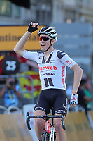 12th September 2020; Lyon, France;  TOUR DE FRANCE 2020- UCI Cycling World Tour during covid-19 pandemic. Stage 14 from Clermont-Ferrand to Lyon on the 12th of September. Soren Kragh Andersen Denmark Team Sunweb crosses the fiish line
