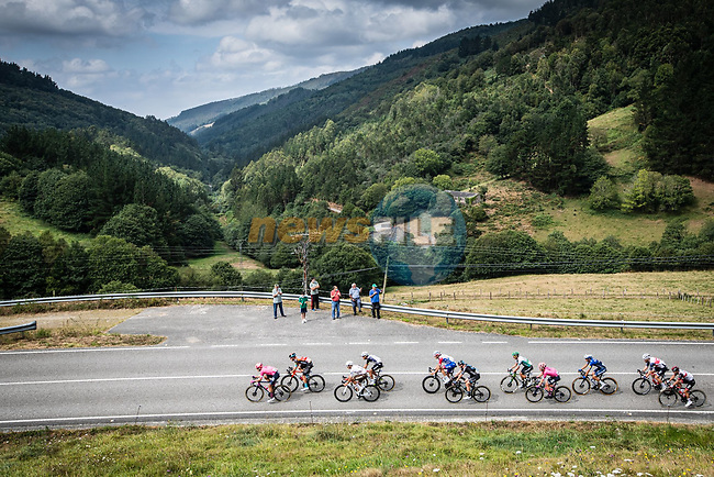 The large breakaway during Stage 19 of La Vuelta d'Espana 2021, running 191.2km from Tapia de Casariego to Monforte de Lemos, Spain. 3rd September 2021.    <br /> Picture: Unipublic/Charly Lopez | Cyclefile<br /> <br /> All photos usage must carry mandatory copyright credit (© Cyclefile | Charly Lopez/Unipublic)