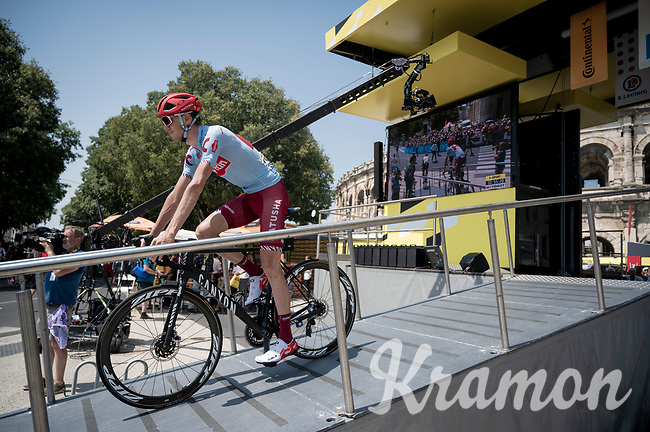Ilnur Zakarin (RUS/Katusha-Alpecin) at the race start in front of the Arena in Nîmes<br /> <br /> Stage 16: Nîmes to Nîmes(177km)<br /> 106th Tour de France 2019 (2.UWT)<br /> <br /> ©kramon