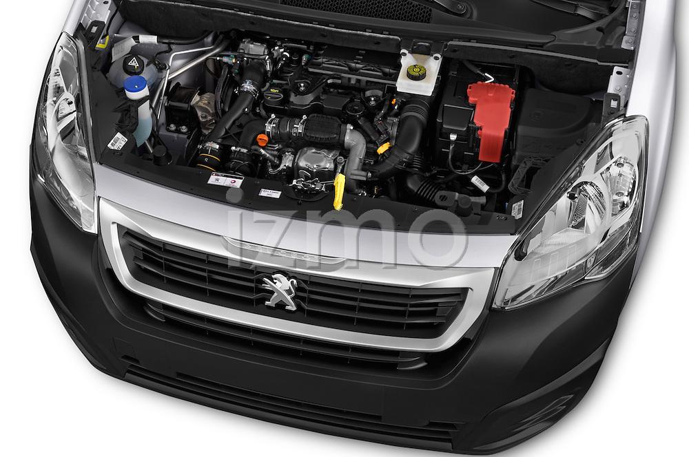 Car Stock 2015 Peugeot Partner - 4 Door Car Van Engine high angle detail view