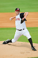 Phil Negus #45 of the Kannapolis Intimidators in action against the Hagerstown Suns at Fieldcrest Cannon Stadium on May 30, 2011 in Kannapolis, North Carolina.   Photo by Brian Westerholt / Four Seam Images