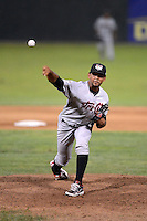 Tri-City ValleyCats pitcher Richard Rodriguez (43) during a game against the Batavia Muckdogs on July 13, 2013 at Dwyer Stadium in Batavia, New York.  Tri-City defeated Batavia 5-4.  (Mike Janes/Four Seam Images)