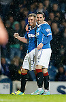 Nicky Clark celebrates his goal with Lewis Macleod