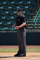 Home plate umpire Sean Cassidy prior to the South Atlantic League game between the Lakewood BlueClaws and the Hickory Crawdads at L.P. Frans Stadium on April 28, 2019 in Hickory, North Carolina. The Crawdads defeated the BlueClaws 10-3. (Brian Westerholt/Four Seam Images)