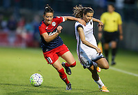Boyds, MD - Saturday May 07, 2016: Washington Spirit defender Ali Krieger (11) holds off Portland Thorns FC midfielder Tobin Heath (17) during a regular season National Women's Soccer League (NWSL) match at Maureen Hendricks Field, Maryland SoccerPlex. Washington Spirit tied the Portland Thorns 0-0.
