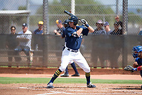 Milwaukee Brewers third baseman Chad McClanahan (72) at bat during an Instructional League game against the Los Angeles Dodgers at Maryvale Baseball Park on September 24, 2018 in Phoenix, Arizona. (Zachary Lucy/Four Seam Images)