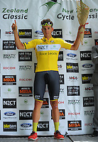 Tour leader and yellow jersey wearer, NZ's Alex Frame of JLT Condor. UCI Oceania Tour - NZ Cycle Classic stage two - Masterton to Martinborough circuit in Wairarapa, New Zealand on Thursday, 21 January 2016. Photo: Dave Lintott / lintottphoto.co.nz