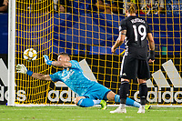CARSON, CA - SEPTEMBER 15: David Bingham #1 of the Los Angeles Galaxy let's a ball past him during a game between Sporting Kansas City and Los Angeles Galaxy at Dignity Health Sports Park on September 15, 2019 in Carson, California.