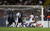 Football: Uefa under 21 Championship 2019, England - France, Dino Manuzzi stadium Cesena Italy on June18, 2019.<br /> England's Aaron Wan-Bissaka scores an own goal during the Uefa under 21 Championship 2019 football match between England and France at Dino Manuzzi stadium in Cesena, Italy on June18, 2019.<br /> UPDATE IMAGES PRESS/Isabella Bonotto