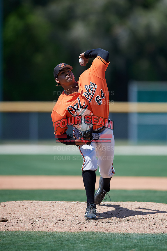 Baltimore Orioles Brandon Bonilla (64) delivers a pitch during a minor league Spring Training game against the Tampa Bay Rays on March 29, 2017 at the Buck O'Neil Baseball Complex in Sarasota, Florida.  (Mike Janes/Four Seam Images)