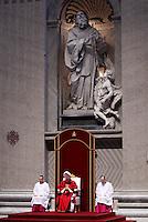 Papa Francesco prega durante la celebrazione della Passione del Signore nella Basilica di San Pietro, Citta' del Vaticano, 3 aprile 2015.<br /> Pope Francis prays during the Lord's Passion celebration in St. Peter's Basilica at the Vatican, 3 April 2015.<br /> UPDATE IMAGES PRESS/Isabella Bonotto<br /> <br /> STRICTLY ONLY FOR EDITORIAL USE