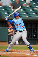 Tennessee Smokies outfielder Albert Almora (6) at bat during a game against the Montgomery Biscuits on May 25, 2015 at Riverwalk Stadium in Montgomery, Alabama.  Tennessee defeated Montgomery 6-3 as the game was called after eight innings due to rain.  (Mike Janes/Four Seam Images)