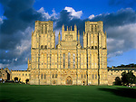 United Kingdom, England, Somerset, Wells: West facade of Wells Cathedral showing statues